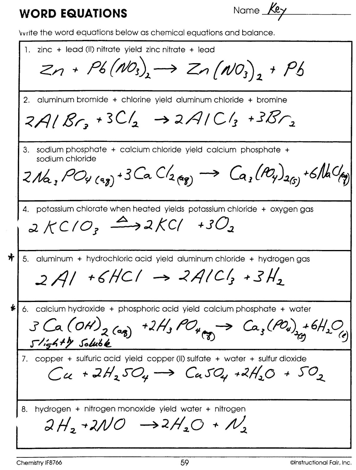 Mr Brueckners Chemistry Class HHS 201112 Key for Word – Balancing Chemical Equations Chapter 7 Worksheet 1 Answers