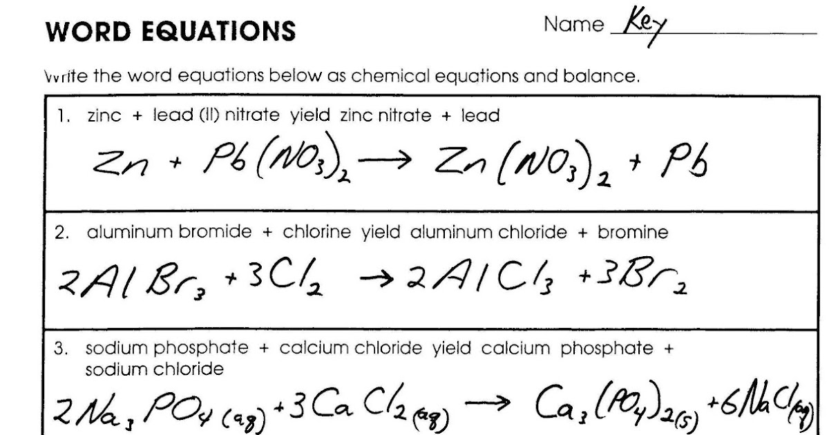 Word Equations Chemistry Worksheet Delibertad – Writing Chemical Equations Worksheet