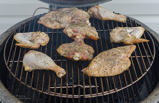 chicken parts on bbq