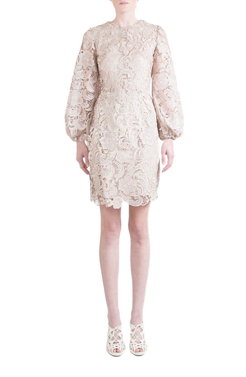 Alyssa Nicole Spring 2015, Lace Bell Sleeve Dress, Tan Lace Dress, Bell Sleeve Dress, Luxury Womenswear Collection