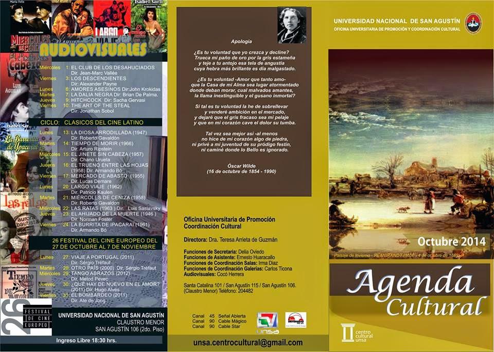 AGENDA CULTURAL DE LA UNSA - OCTUBRE 2014
