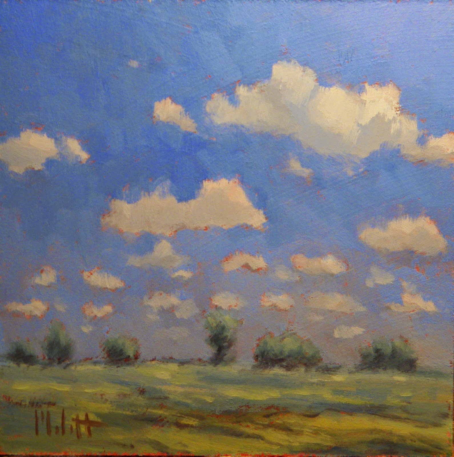 Midwest Skies Clouds Landscape Daily Oil Painting