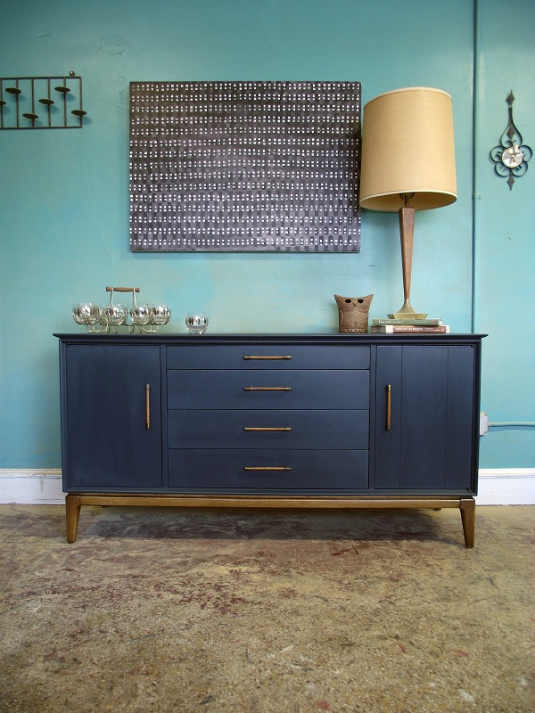 Vintage Ground Mid Century Retro Deep Blue Sideboard Buffet