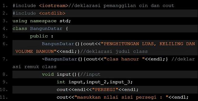 Program Class Menghitung Luas, Keliling Dan Volume Bangun Menggunakan Dev C++