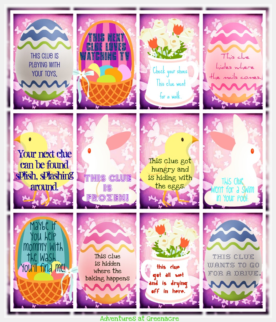graphic regarding Clue Cards Printable called Printable Easter Egg Hunt Clue Playing cards Merry Xmas And