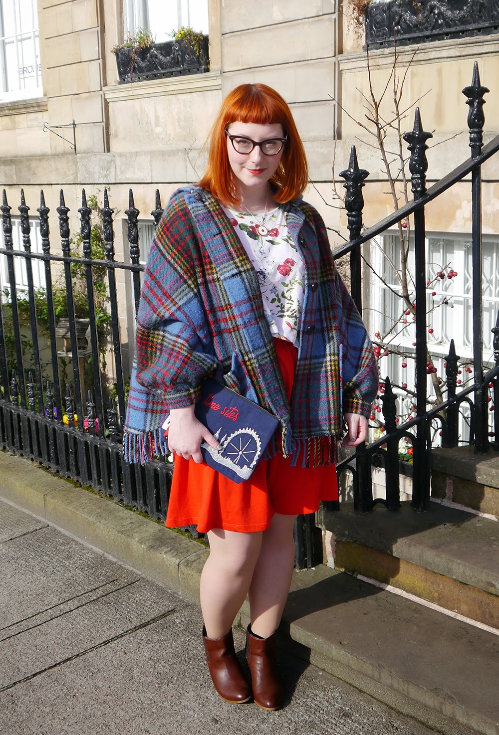 What Helen Wore, Scottish Blogger, Red Head, Glasgow, Hillary's Crafternoon, Sugar & Vice, cherry bakewell necklace, comfy style, bright colours, floral tee, Zara flower print tshirt, H&M red jersey dress, Zara brown boots, SewLomax day time sites bag, vintage tartan cape, tartan style