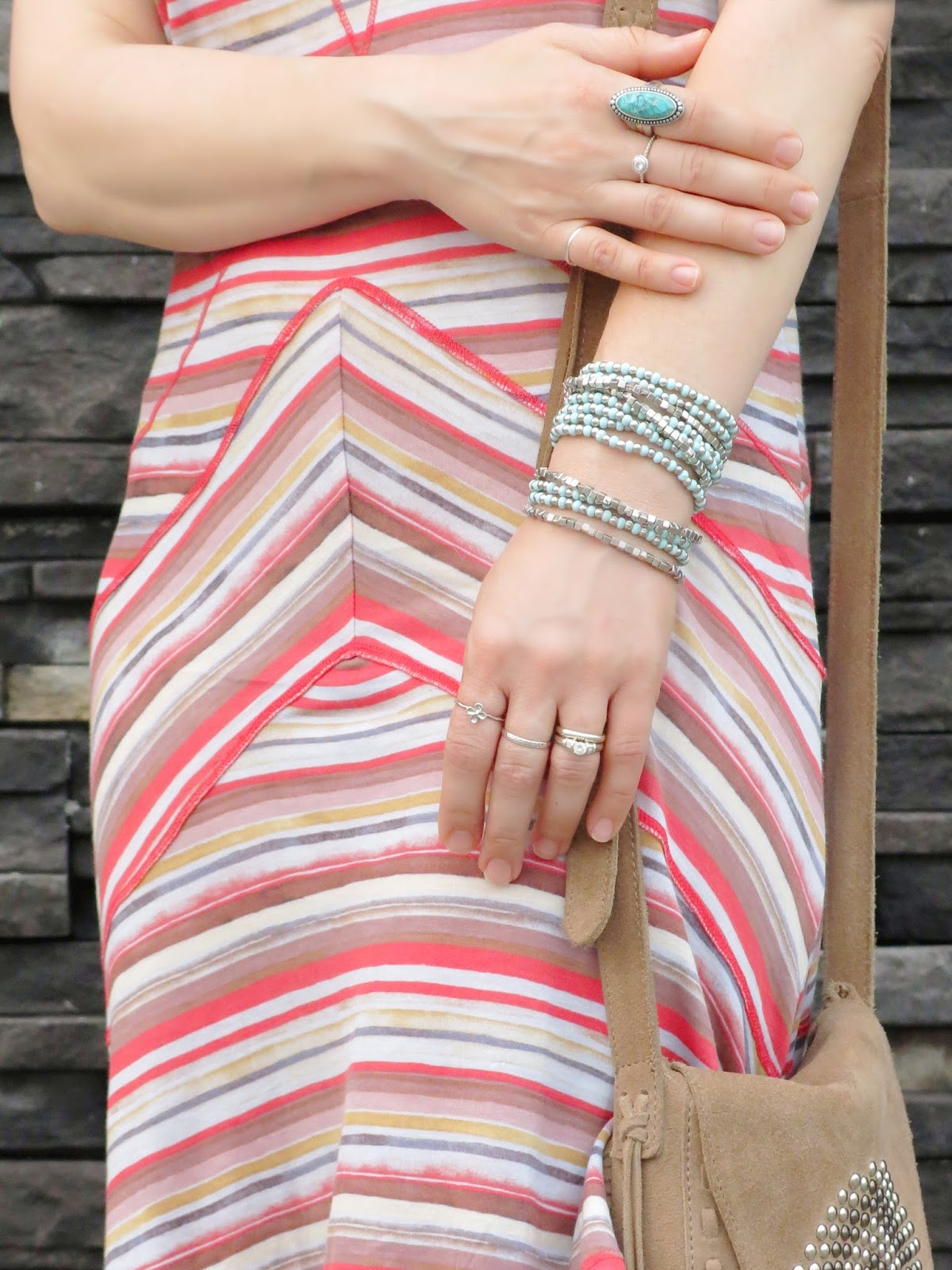 striped slip dress and accessories