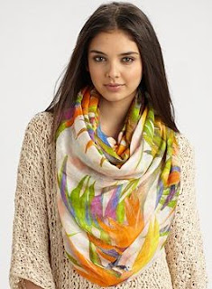 bird of paradise printed scarf