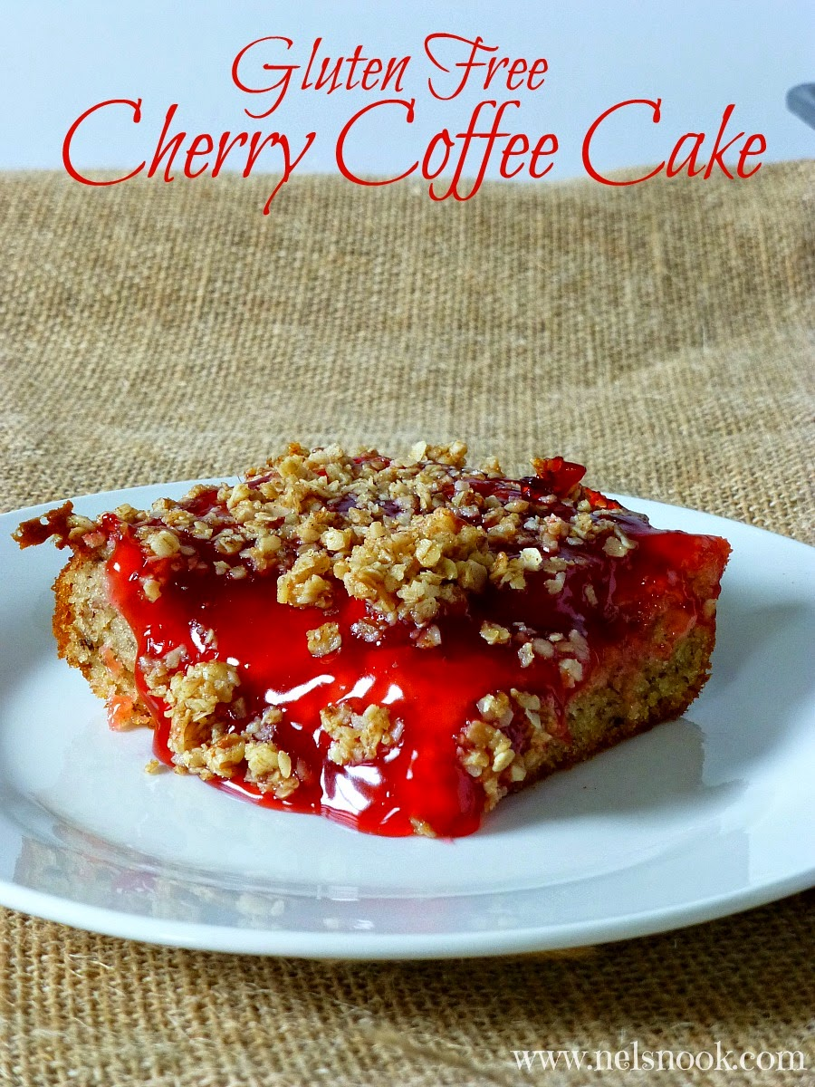 This Gluten-Free Cherry Coffee Cake is perfect for breakfast or dessert!  #LuckyLeafSummer