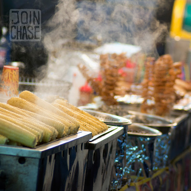Street food at Jinju Lantern Festival in Jinju, South Korea.