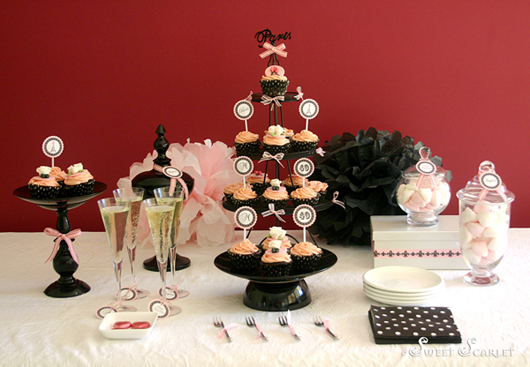 Sweet scarlet parisienne 40th birthday dessert table for 40th birthday decoration