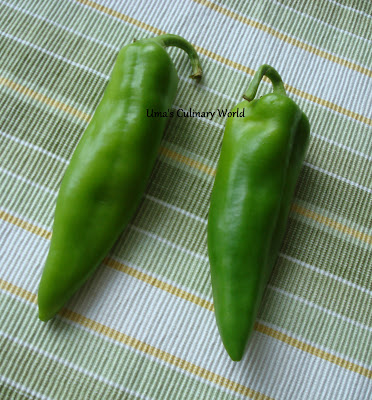 Anaheim peppers or Bhavanagri mirchi