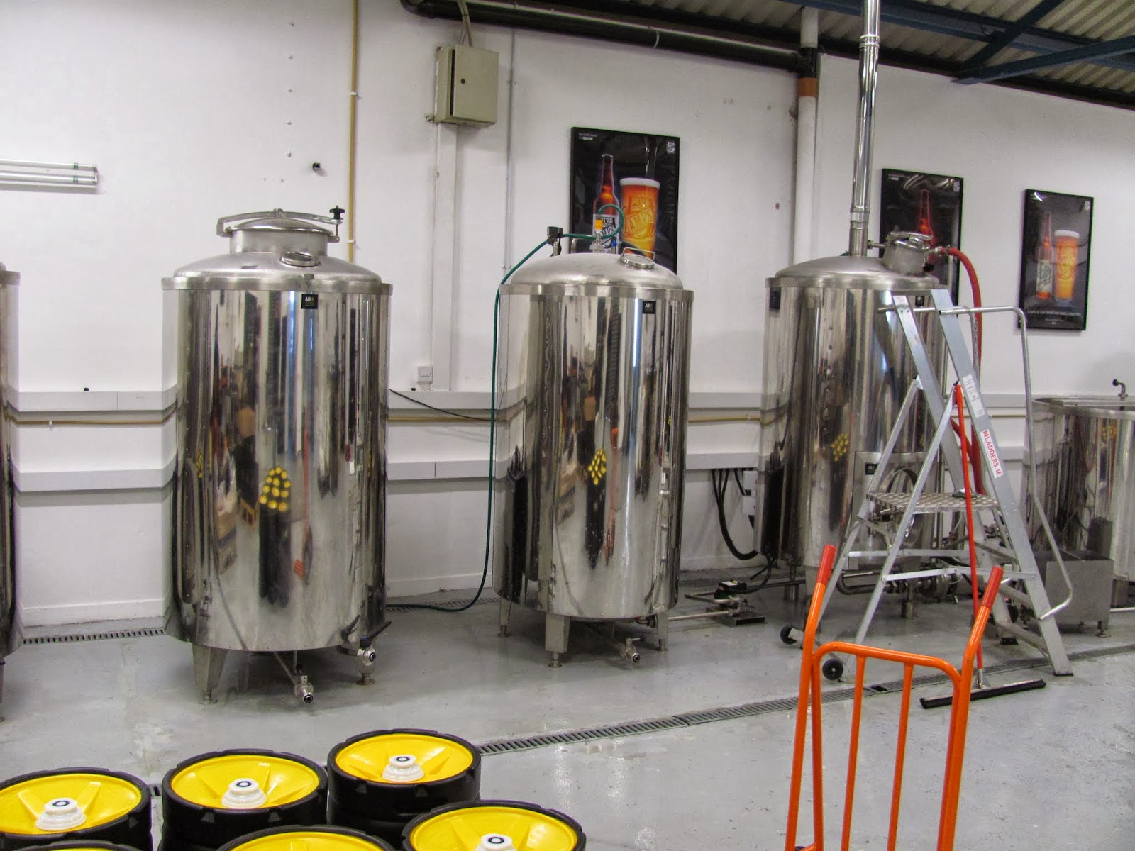 Boiling kettle (right) and fermenters at The 5 Lamps Dublin Brewery