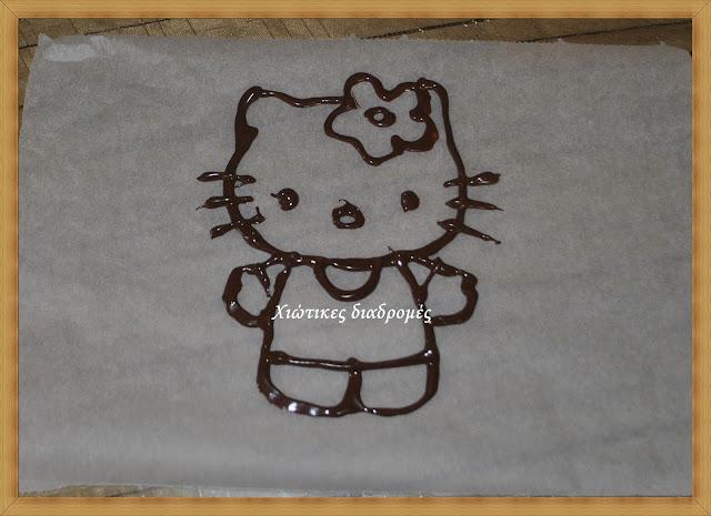 Τούρτα γενεθλίων hello kitty με σοκολατένια διακόσμηση