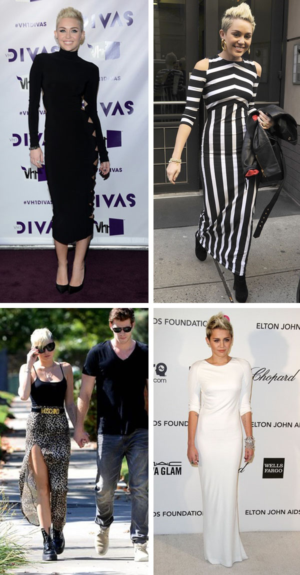 Miley Cyrus Style, long body con dresses