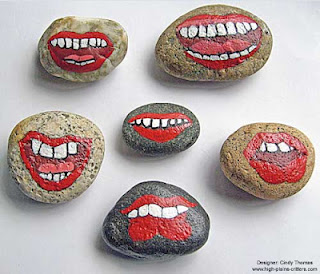 mouths, faces, painted rocks, rock painting, Stony Face, Cindy Thomas