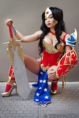 Yaya Han crouching as Wonder Woman