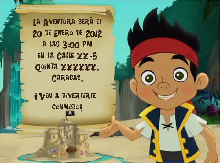 Tarjetas De Invitaci  N  Jake Y Los Piratas Del Pais De Nunca Jamas