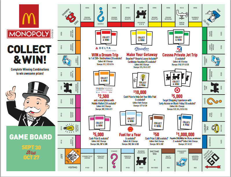 Mcdonalds Monopoly Game Board 2014 Mcdonald 39 s Monopoly 2014