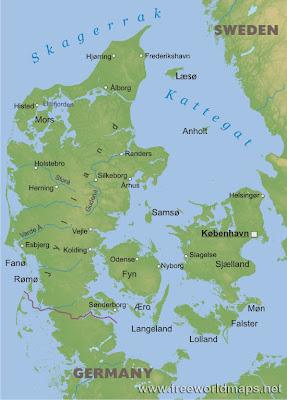 Mappa della Danimarca Regionale