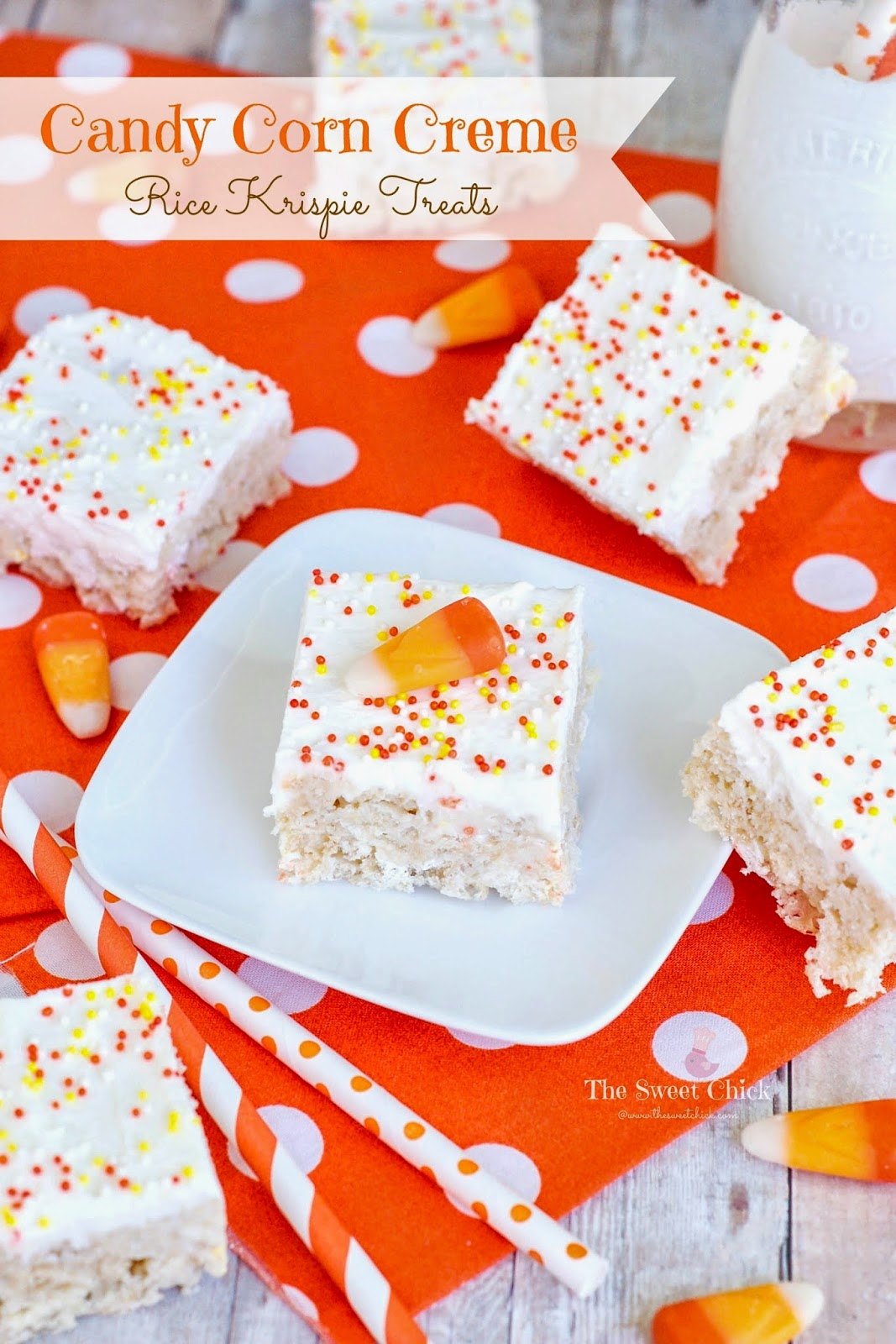 Candy Corn Creme Rice Krispie Treats by The Sweet Chick