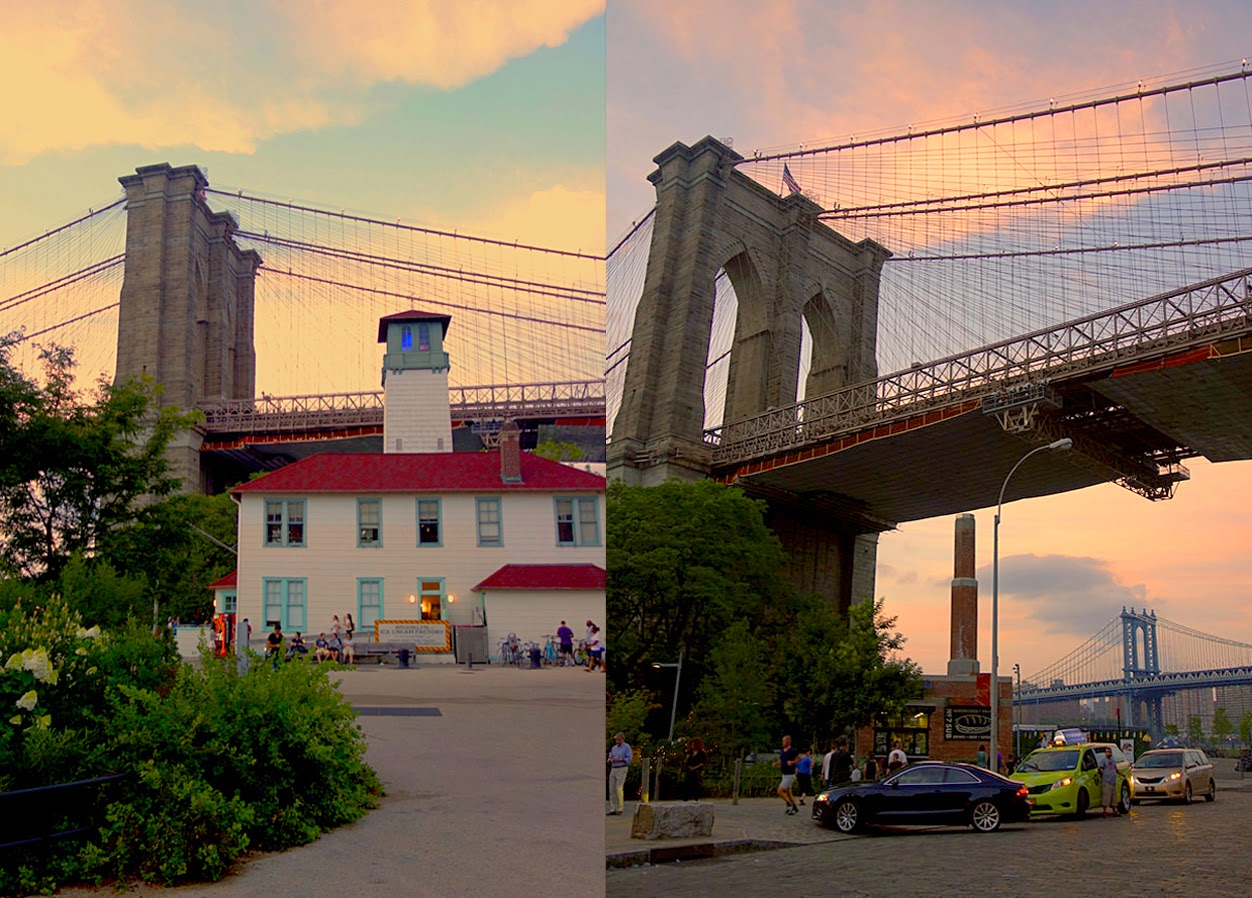Brooklyn Bridge at dusk, NYC