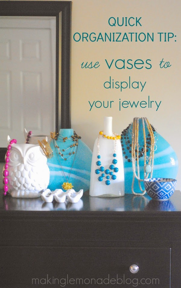 Organize jewelry using vases to display :: OrganizingMadeFun.com