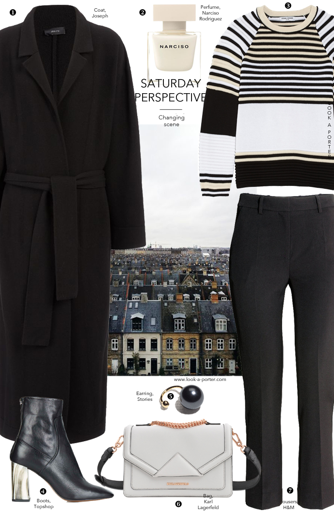 Weekend outfit ideas - styling Joseph coat, Opening ceremony sweater, Topshop boots, Karl Lagerfeld bag & H&M trousers via www.look-a-porter.com style & fashion blog