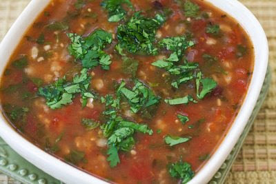 Slow Cooker Vegetarian Black Bean and Tomatillo Soup from Kalyn's Kitchen featured on SlowCookerFromScratch.com
