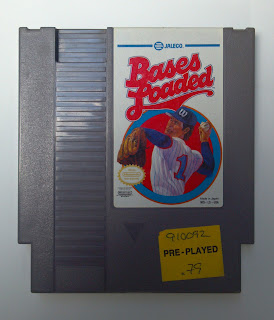 bases loaded NES football game cartridge