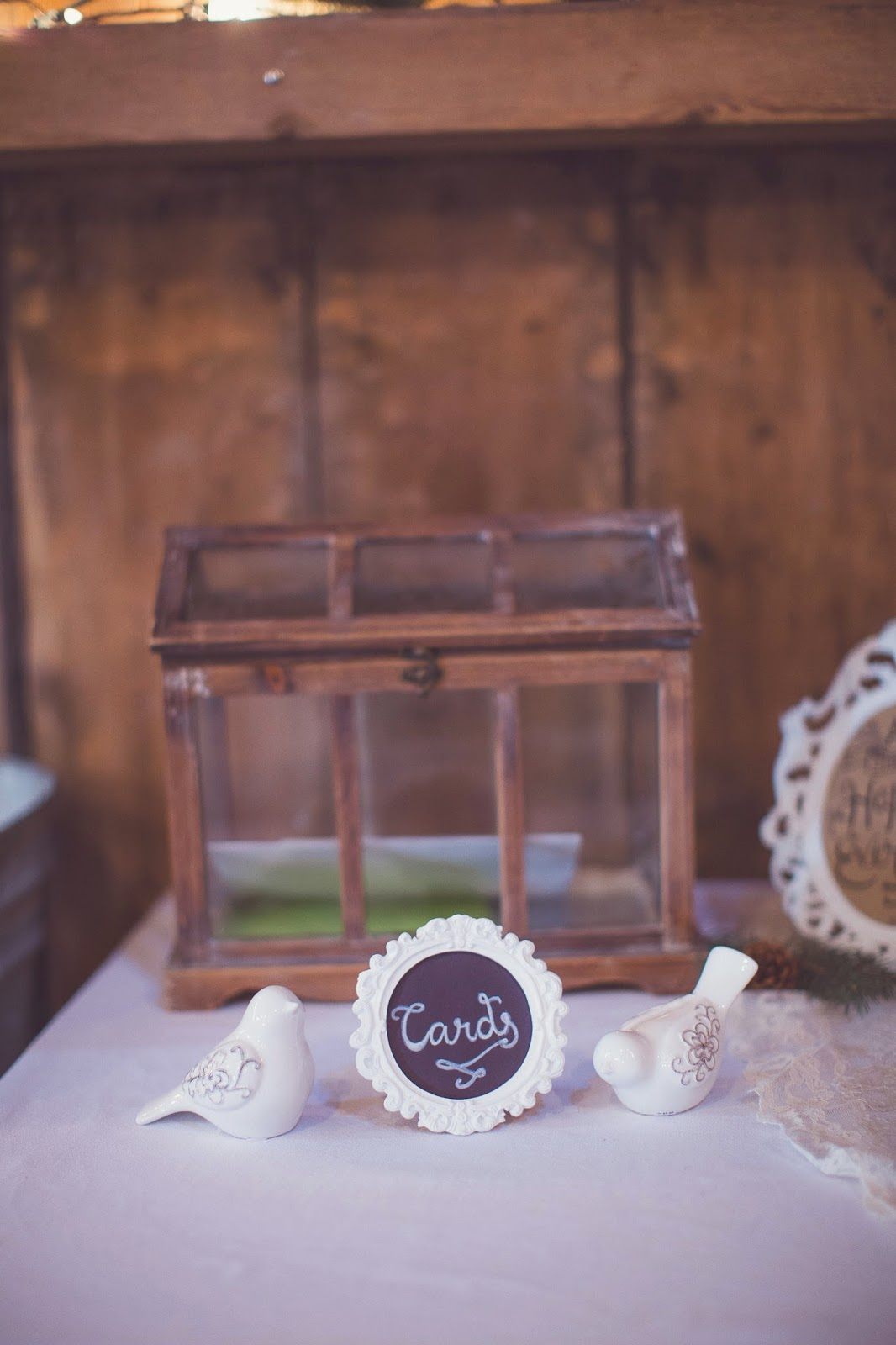 wedding terrarium card box sign