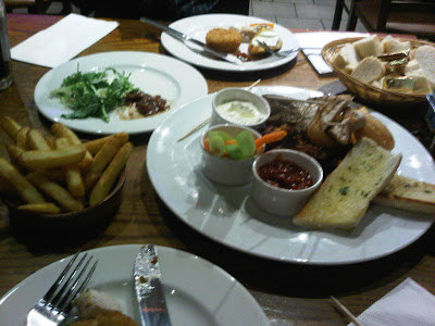 plate of food to share at potters grill