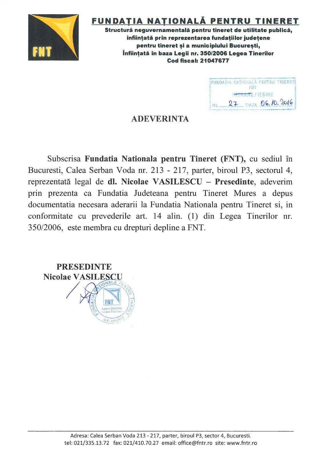 Fundatia Judeteana pt Tineret Mures (FJTMS) persoana juridica de utilitate publica.