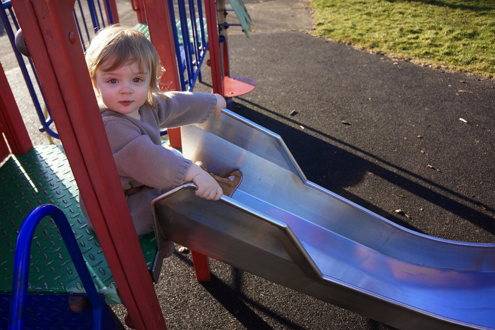 toddler on slide