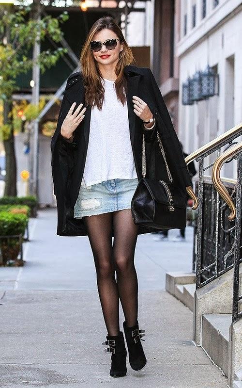 miranda kerr in a denim skirt leggy out stills in nyc