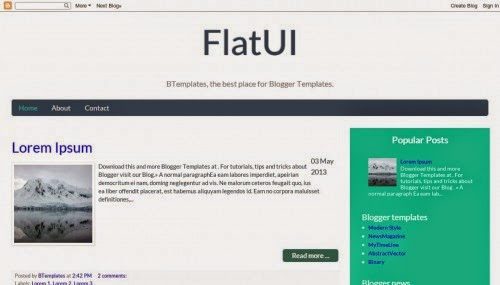 FlatUI - Free Blogger Template