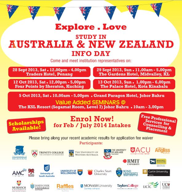 28 Sep 2013 Sat 13 Oct 2013 Sun Study in Australia New Zealand Info Day