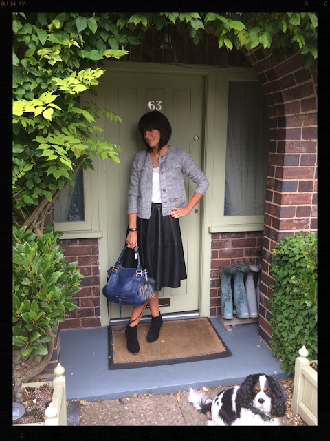 My Midlife Fashion, Mango ankle boots, Boucle knitted jacket, Faux leather Zara Midi skirt