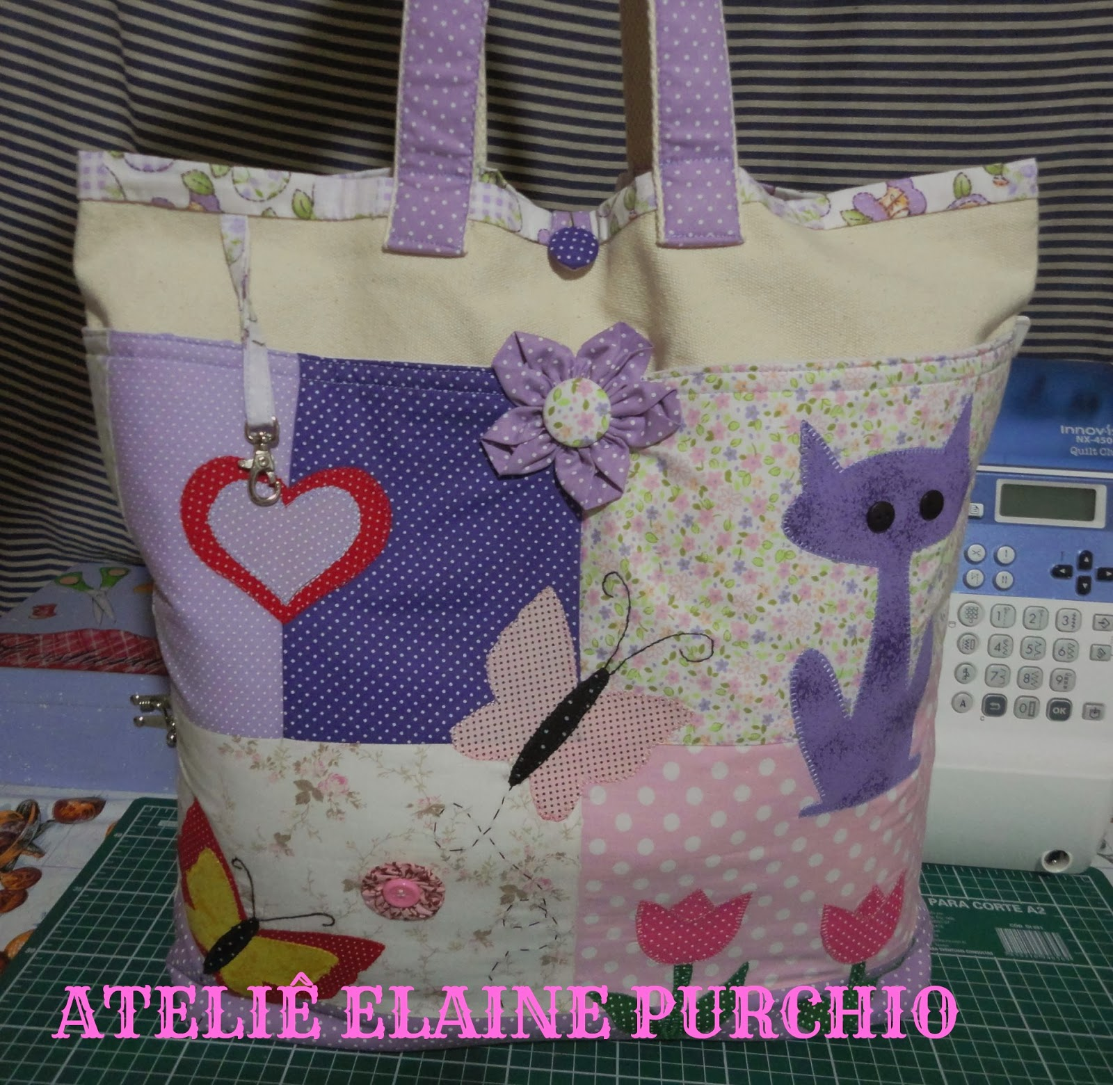 Bolsa De Tecido Forrada : Elaine purchio bolsa de tecido lona em patchwork