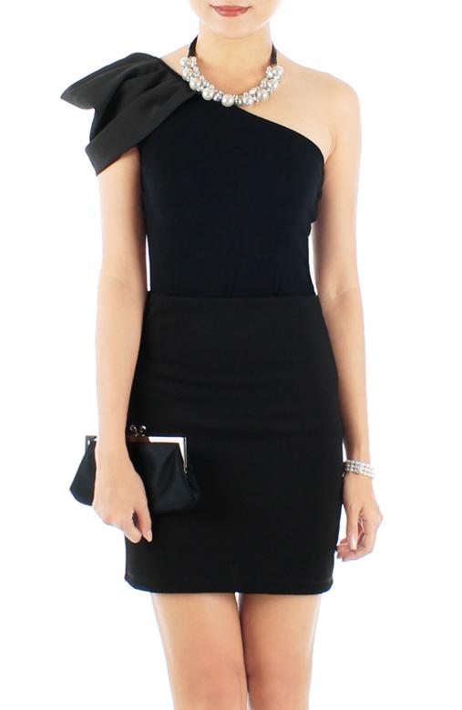 Black Shell Drape Single Shoulder Top