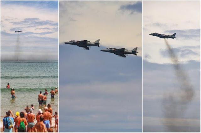X Festival Aereo de Gijon 2015 – Harrier sobre la Playa de San Lorenzo