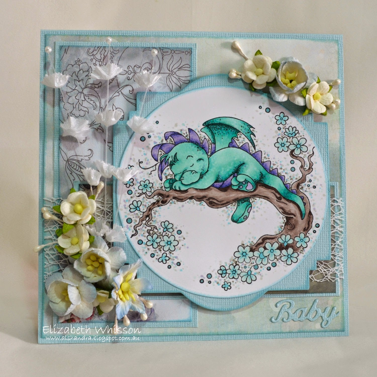 Elizabeth Whisson, handmade card, Baby, Whimsy Stamps Wee Stamps Dreamy Dragon, copics, live and love crafts flowers