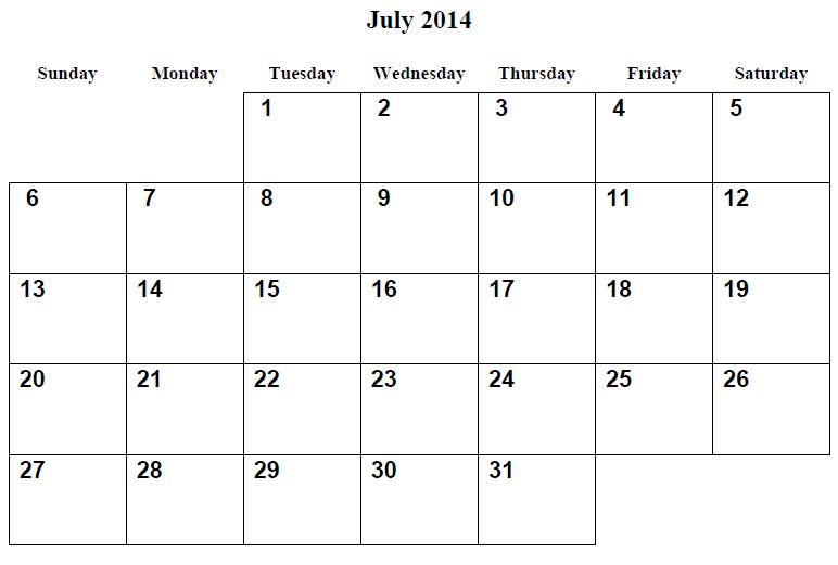 Pdf July 2014 Calendar July Blank Calendar 2014