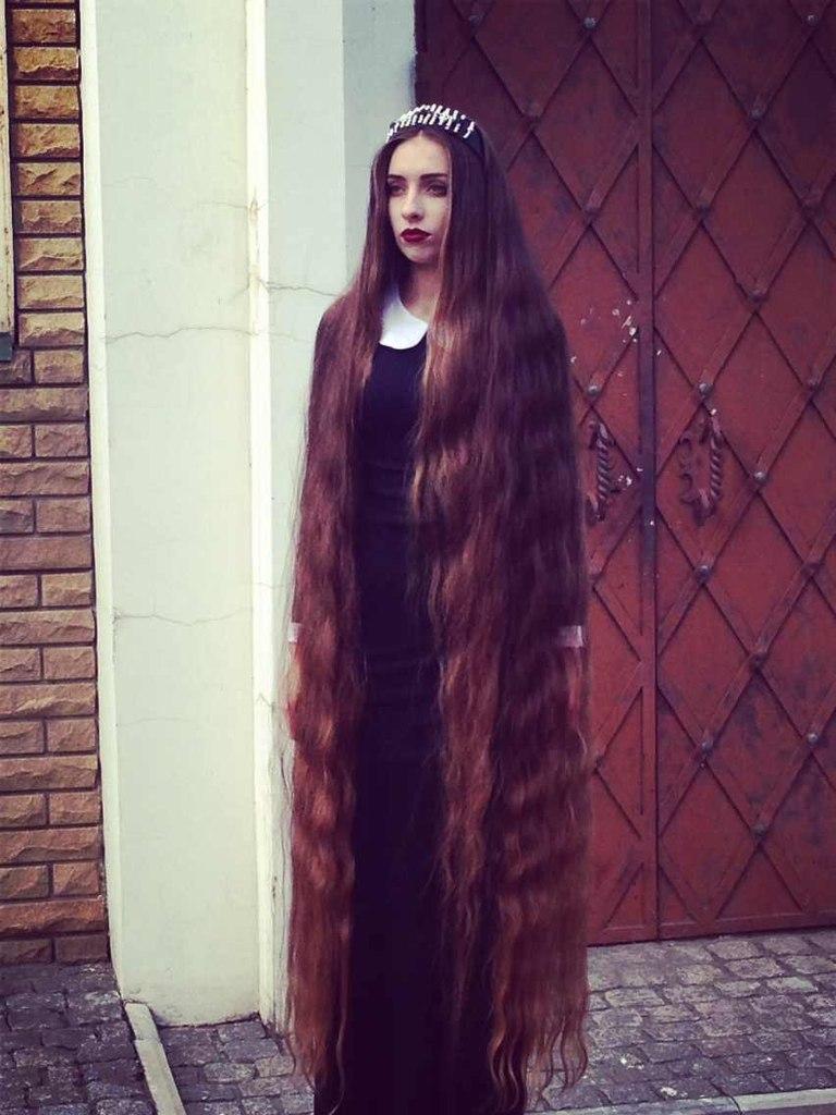 Long Hair Girl Shows Off Her Floor Length Hair Girls With