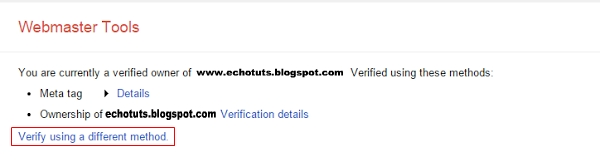 verify using a different method google webmaster tool tutorial cara daftar dan ceritifikasi blog ke dalama google webmaster - echotuts