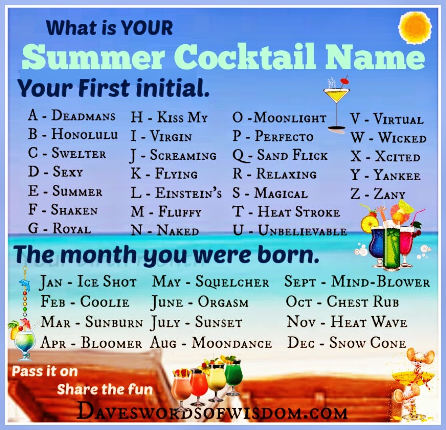 What is your summer cocktail name for Names of mix drinks