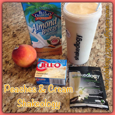 peaches, peach & cream, creamy, fresh summer drink, peach shakeology, shakeology, sarah griffith, top beachbody coach state college,