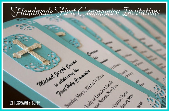 21 rosemary lane handmade first communion invitations with tutorial this year for michaels first holy communion i decided to make the invitations myself now mind you i had no idea what i was doing solutioingenieria Image collections