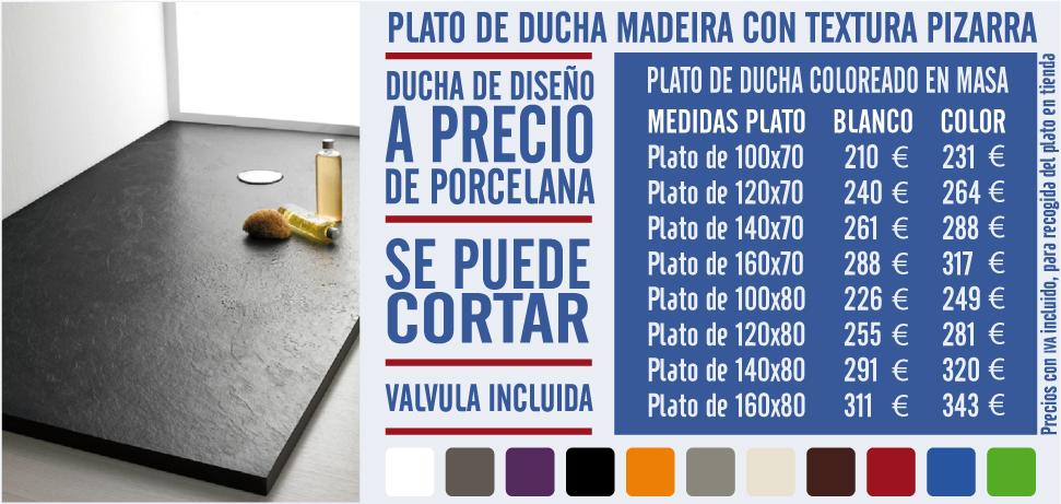 Plato de ducha madeira con textura de pizarra reformas guaita - Fiora platos de ducha precios ...