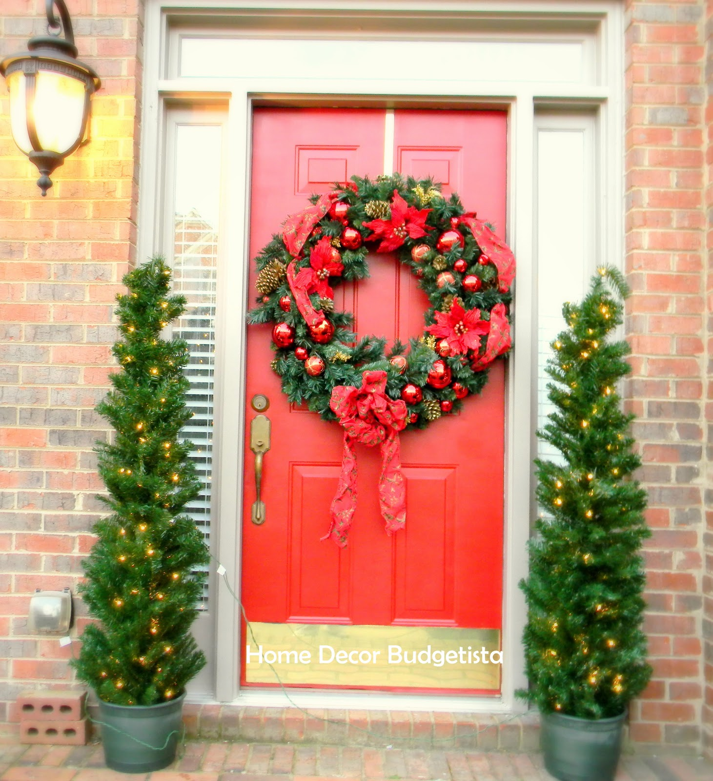 Home decor budgetista christmas decorations for Door xmas decoration ideas